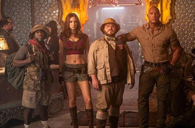 Kevin Hart, Karen Gillan, Jack Black, and Dwayne Johnson in 'Jumanji: The Next Level' (Photo credit: Sony Pictures)