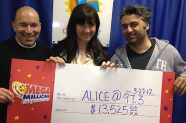Vinnie Hasson, Sarah Clark and Hooman Khalili Lottery Winners