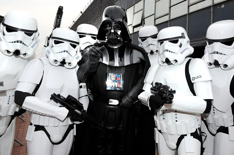 MANCHESTER, ENGLAND - JUNE 05: Darth Vader and Stormtroopers attend adidas Host The Street Party at Coronation Street, ITV studios on June 5, 2010 in Manchester, England. (Photo by Shirlaine Forrest/Getty Images for adidas)