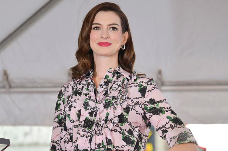 HOLLYWOOD, CALIFORNIA - MAY 09: Anne Hathaway poses for portrait while attending Anne Hathaway Honored With Star On The Hollywood Walk Of Fame on May 09, 2019 in Hollywood, California. (Photo by Rodin Eckenroth/Getty Images)