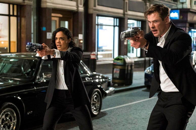 """Tessa Thompson and Chris Hemsworth in a scene from Columbia Pictures' """"Men in Black: International."""""""
