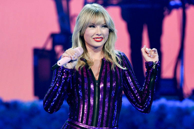 In this July 10, 2019 file photo Taylor Swift performs at Amazon Music's Prime Day concert in New York. Swift will be honored with the award for artist of the decade at this year's American Music Awards. (Photo by Evan Agostini/Invision/AP, File)
