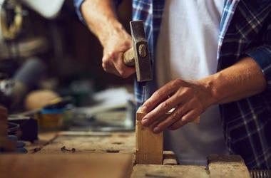 Man, Hammering, Wood, Mallet, Nail, Wooden Plank, Hammer