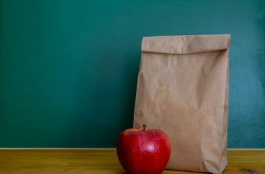 Sack Lunch, Apple, Brown Paper Bag