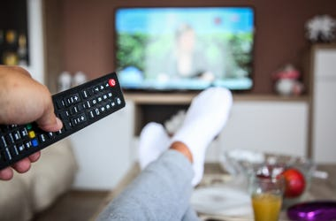 Watching TV, Relaxing, Living Room, Remote