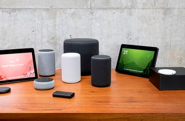 """SEATTLE, WA - SEPTEMBER 20: An assortment of newly launched devices, including, an """"Echo Input,"""" """"Echo Show, """"Echo Plus,"""" """"Echo Sub,"""" """"Echo Auto"""" and """"Firetv Recast"""" are pictured at Amazon Headquarters, following a launch event, on September 20, 2018 in S"""