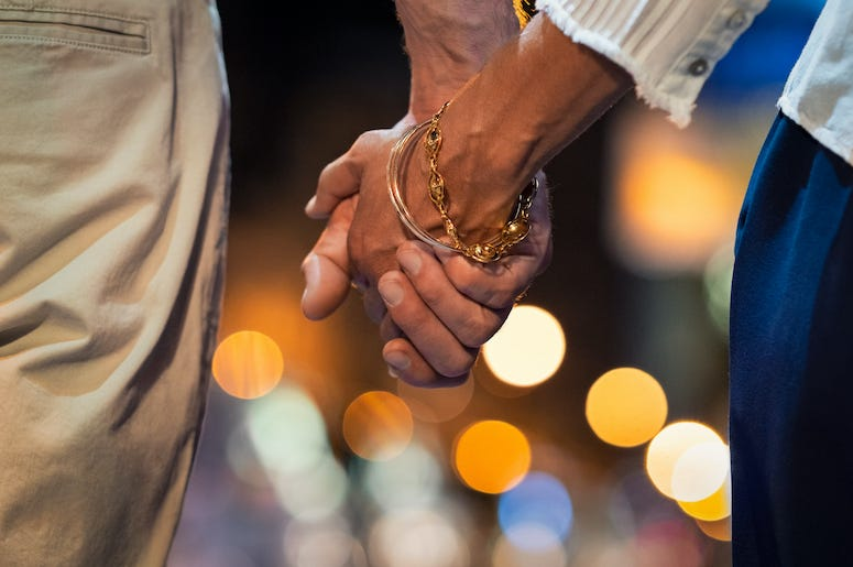 Couple, Holding Hands, Night