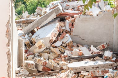 House, Home, Collapsed Roof, Demolished, Bricks