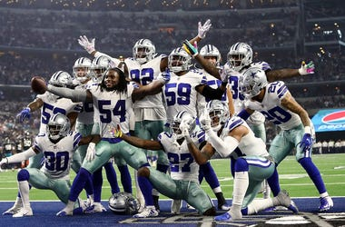 Jaylon Smith #54 and the Dallas Cowboys defense celebrate a fumble recovery against the Jacksonville Jaguars at AT&T Stadium on October 14, 2018 in Arlington, Texas.