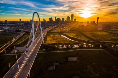 Dallas, Texas, Skyline, Sunset, Aerial, Drone