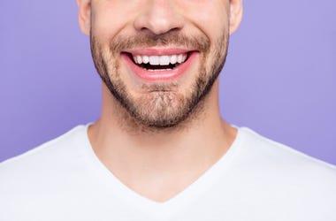 Facial Hair, Beard, Male, Smile, Purple Background