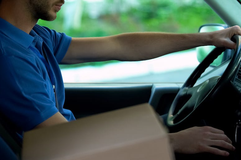Delivery Driver, Truck, Package