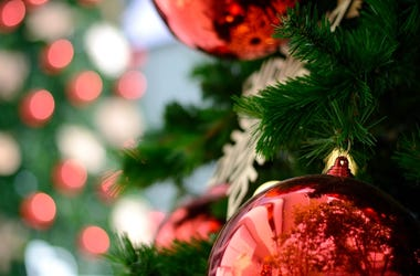 Christma Tree, Ornament, Red Bauble