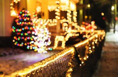 Christmas, Lights, House, Street