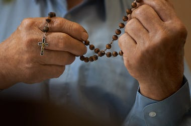 Rosary, Man, Praying, Hands