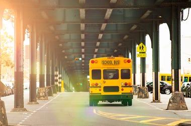 School Bus, Yellow, Railway Bridge, New York