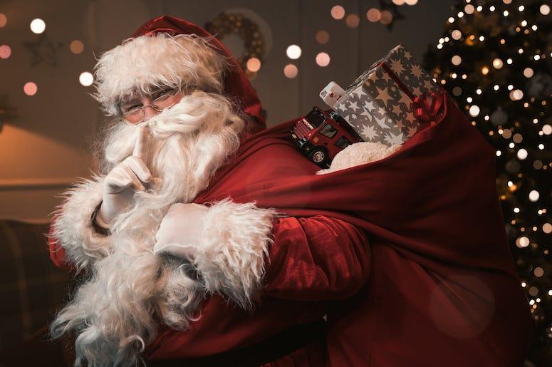 Santa, Whisper, Shh, Finger on Lips