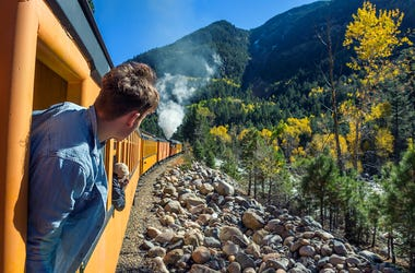 Young Man, Train, Window, Steam Engine, Colorado