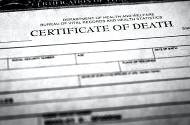 Death Certificate, Document, Closeup