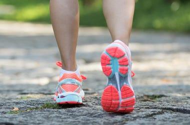 Woman, Trail, Walking, Sneakers
