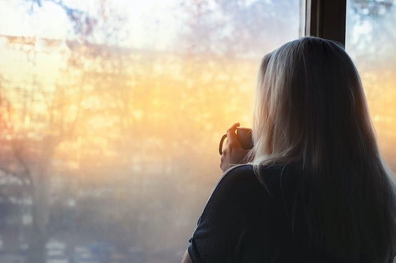 Woman, Staring, Window, Coffee, Coffee