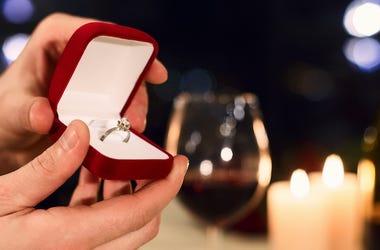 Couple, Engagement Ring, Wine, Dinner
