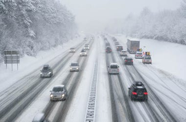 Snow, Driving, Cars, Highway