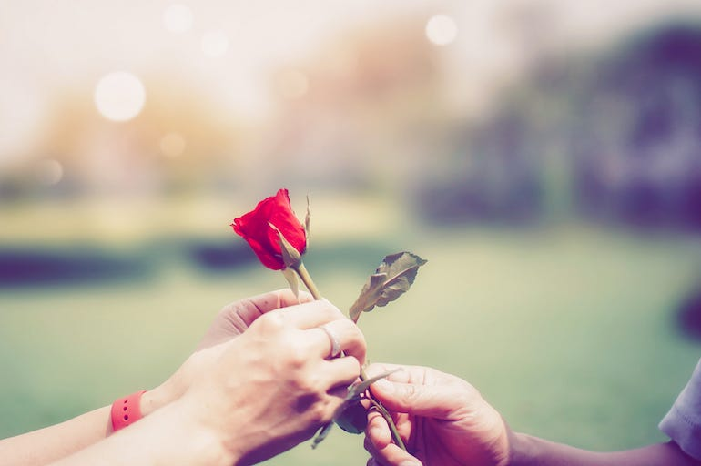 Man Handing Rose To Woman, Rose, Flower, Valentine's Day