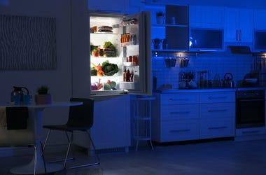 Kitchen, Night, Refrigerator, Open Door