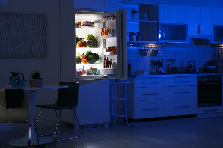 Kitchen, Night, Refrigerator, Open Door
