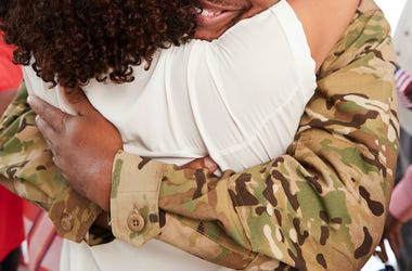 Soldier, Hug, Mom