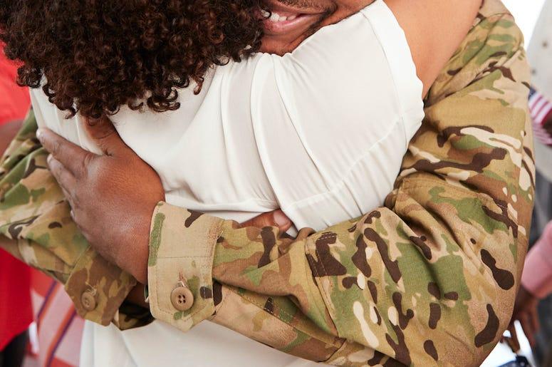 Soldier, Hug, Mom
