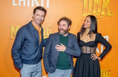NEW YORK, NEW YORK - APRIL 07: Actors Hugh Jackman, Zach Galifianakis and Zoe Saldana attend the 'Missing Link' New York Premiere at Regal Cinema Battery Park on April 07, 2019 in New York City.