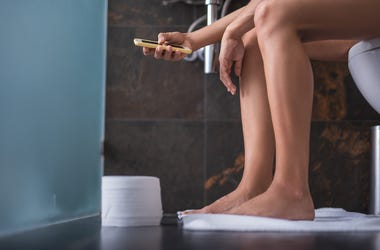 Woman, Toilet, Bathroom, Legs, Phone