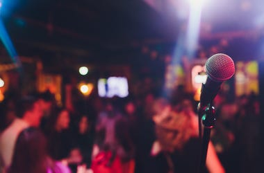 Karaoke Bar, Microphone, Bar, Patrons, People, Lights, Blurry