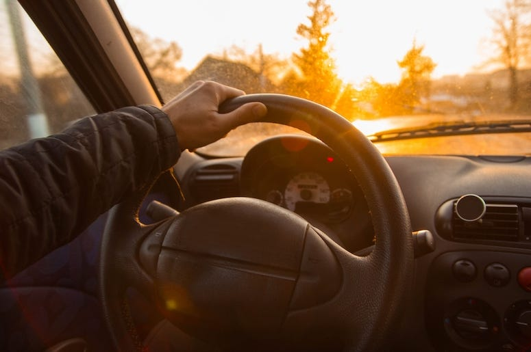 Male, Driving, Car, Driver, Steering Wheel, Sunset