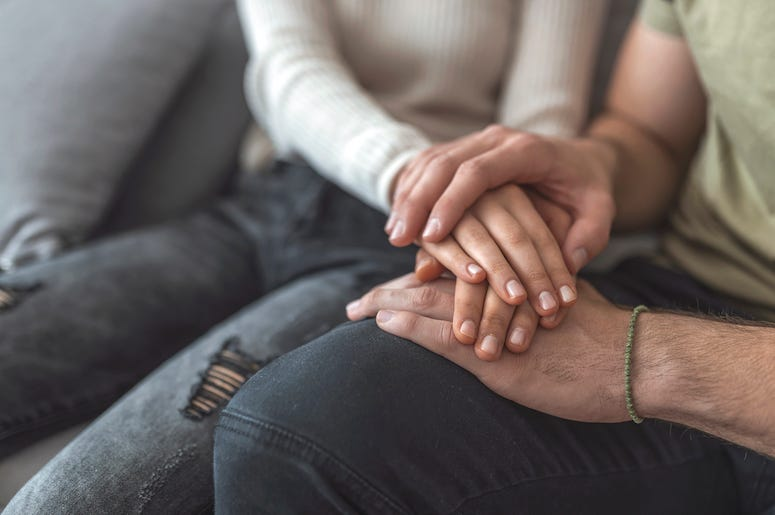 Couple, Holding Hands, Couch