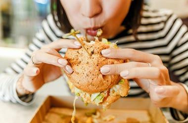 Woman, Biting, Hamburger, Modern Fast Food Cafe