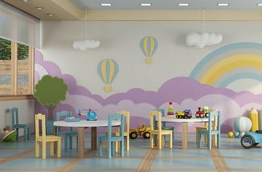 Kindergarten Class, Empty, Tables, Desks, Toys