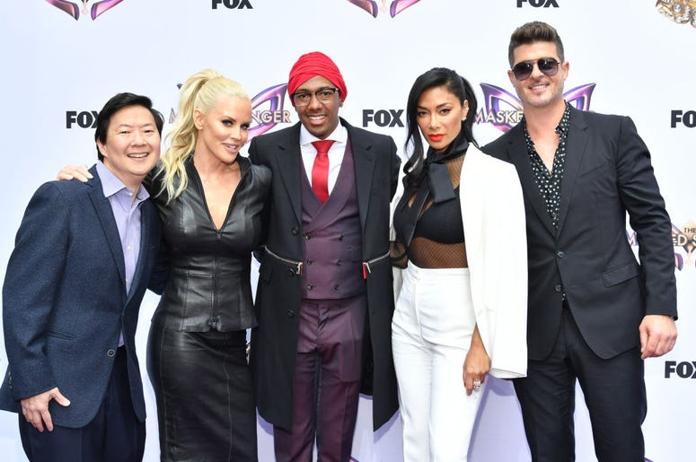 The Masked Singer Panel including Ken Jeong, Jenny McCarthy, Nick Cannon, Nicole Scherzinger, and Robin Thicke