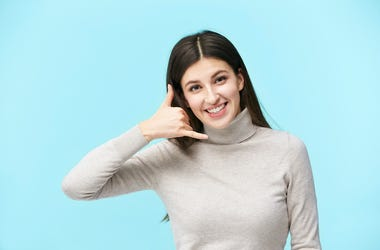 Phone, Hand Gesture, Young Woman, Blue Background