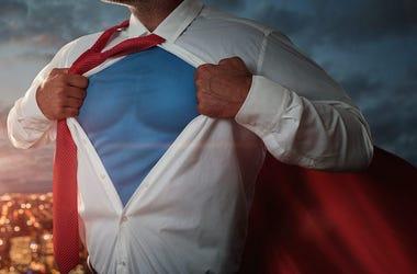Businessman, Suit, Tie, Muscle Shirt, Tear Away
