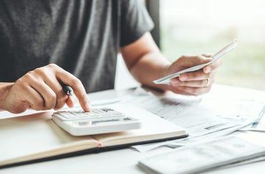 Man, Bank Account, Taxes, Accounting, Calculator, Computer
