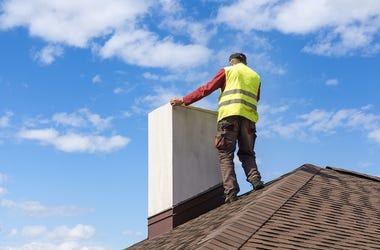 Construction Worker, Roof, Chimney, Blue Sky, Clouds, Safety Vest