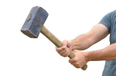 Man, Sledgehammer, Arms, White Background