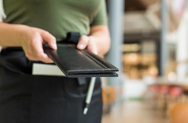 Woman, Waitress, Bill, Bill Folder, Restaurant
