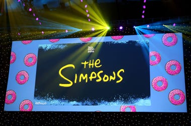 Screen at The Simpsons! panel during the 2019 D23 Expo at Anaheim Convention Center on August 24, 2019 in Anaheim, California.