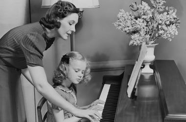 Mother, Daughter, Piano, Lesson, Black and White
