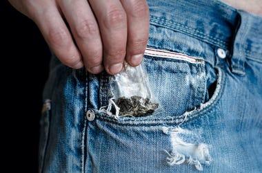 Drugs, Marijuana, Weed, Baggie, Pocket, Jeans