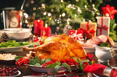 Christmas Dinner, Turkey, Meal, Christmas Tree, Burning Candles
